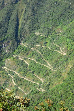 zig zag road from aqua calientes to machu picchu from brian mcmorrow